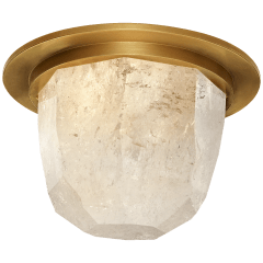 """Halcyon 5"""" Solitaire Flush Mount in Antique-Burnished Brass and Quartz"""