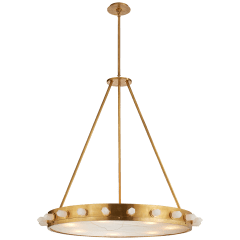 Halcyon Large Chandelier in Antique-Burnished Brass and Quartz