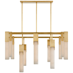 Covet Large Chandelier in Antique-Burnished Brass with Alabaster
