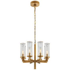 Liaison Single Tier Chandelier in Antique-Burnished Brass with Crackle Glass