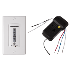 Hardwired wall remote control/receiver. Fan speed and downlight control. (non-reversing) White