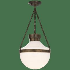 Modern Schoolhouse Lantern in Antique Brass Verdigris with White Glass