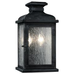 Pediment Small Lantern Dark Weathered Zinc