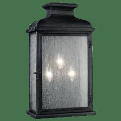 Pediment Wide Lantern Dark Weathered Zinc