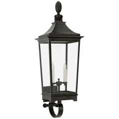 Rosedale Classic Medium Tall Bracketed Wall Lantern in French Rust with Clear Glass