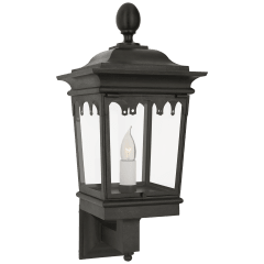 Rosedale Grand Petite Bracketed Wall Lantern in French Rust with Clear Glass