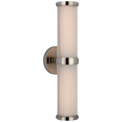 Ranier Double Bath Light in Polished Nickel with Clear Glass Rods