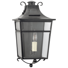 Carrington Small Wall Lantern in French Rust with Clear Glass