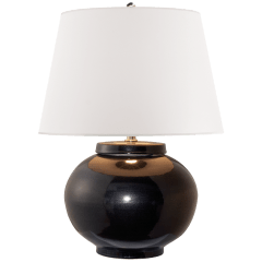 Carter Small Table Lamp in Black Porcelain with White Paper Shade