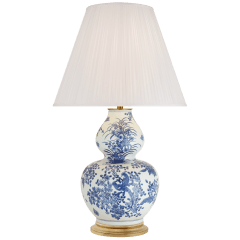 Sydnee Large Gourd Table Lamp in Blue and White Porcelain with Silk Pleated Shade