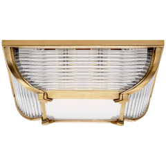 Perry Large Flush Mount in Natural Brass and Glass Rods with White Glass