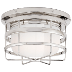 Crosby Flush Mount in Polished Nickel with White Glass