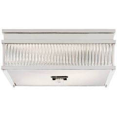 Allen Square Flush Mount in Polished Nickel and Glass Rods with White Glass