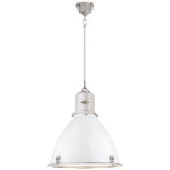 Fulton Large Pendant in Polished Nickel with White Enamel Shade