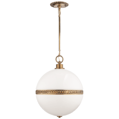 Hendricks Large Globe Pendant in Natural Brass with White Glass