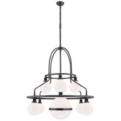 McCarren Double Tier Chandelier in Bronze with White Glass