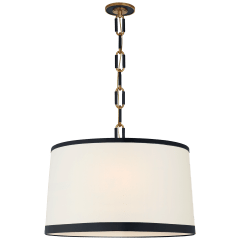 Cody Large Hanging Shade in Natural Brass with Linen Shade and Navy Leather Trim