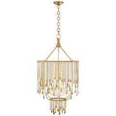 Kayla Medium Sculpted Chandelier in Natural Brass with Alabaster