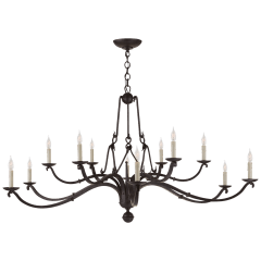 Allegra Large Two-Tiered Chandelier in Aged Iron
