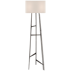 Vail Floor Lamp in Aged Iron with Natural Paper Shade