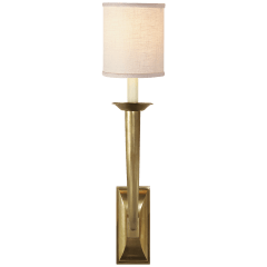 French Deco Horn Sconce in Hand-Rubbed Antique Brass with Linen Shade