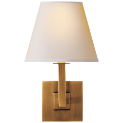 Architectural Wall Sconce in Hand-Rubbed Antique Brass with Natural Paper Shade