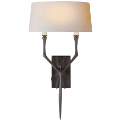 Bristol Large Sconce in Aged Iron with Natural Paper Shade
