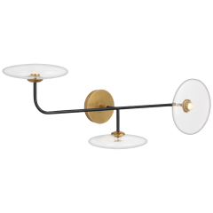 Calvino Large Arched Sconce in Aged Iron and Hand-Rubbed Antique Brass with Clear Glass