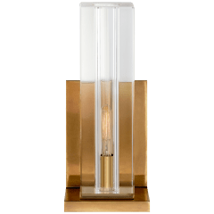 Ambar Tall Wall Light in Crystal and Hand-Rubbed Antique Brass