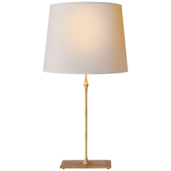 Dauphine Table Lamp in Gilded Iron with Natural Paper Shade
