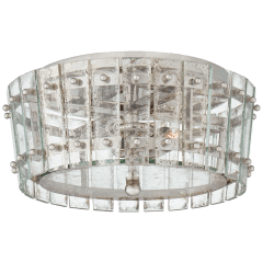 Cadence Small Single-Tier Flush Mount in Polished Nickel with Antique Mirror