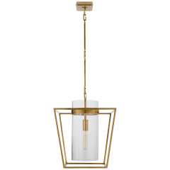 Presidio Small Lantern in Hand-Rubbed Antique Brass with Clear Glass