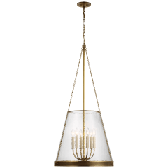 """Reese 22"""" Pendant in Soft Brass with Clear Glass"""
