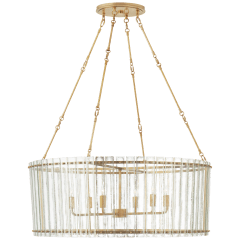 Cadence Large Chandelier in Hand-Rubbed Antique Brass with Antique Mirror