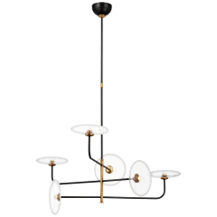Calvino Large Arched Chandelier in Aged Iron and Hand-Rubbed Antique Brass with Clear Glass
