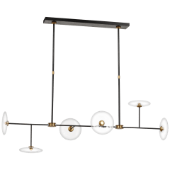 Calvino Large Linear Chandelier in Aged Iron and Hand-Rubbed Antique Brass with Clear Glass