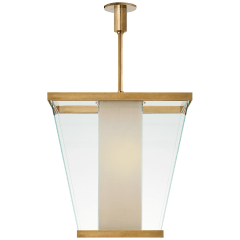 Marin Lantern in Antique-Burnished Brass with White Glass