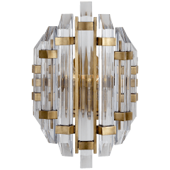 Adele Sconce in Hand-Rubbed Antique Brass with Clear Acrylic