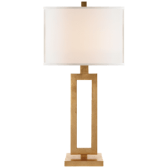 Mod Tall Table Lamp in Gild with Linen Shade