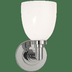 Wilton Single Bath Light in Chrome with White Glass