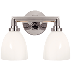 Wilton Double Bath Light in Chrome with White Glass