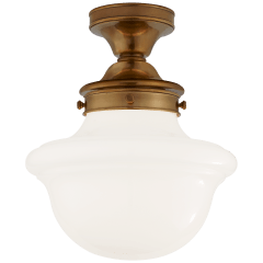 Edmond Flush Mount in Hand-Rubbed Antique Brass with White School House Glass