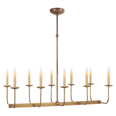 Linear Branched Chandelier in Hand-Rubbed Antique Brass