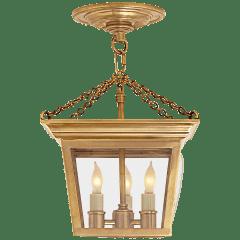 Cornice Semi-Flush Lantern in Hand-Rubbed Antique Brass