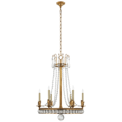 Regency Medium Chandelier in Hand-Rubbed Antique Brass with Seeded Glass