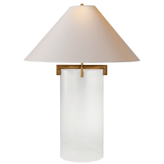 Brooks Table Lamp in Crystal and Gilded Iron with Natural Paper Shade