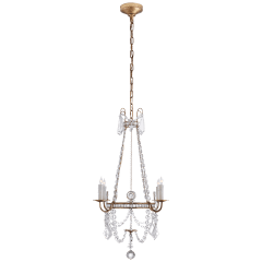 Sharon Small Chandelier in Gilded  Iron with Crystal Trim