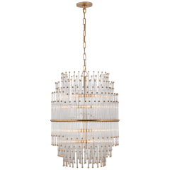 Mia Medium Barrel Chandelier in Hand-Rubbed Antique Brass with Clear Glass Rods