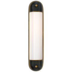 Selecta Long Sconce in Bronze and Hand-Rubbed Antique Brass with White Glass