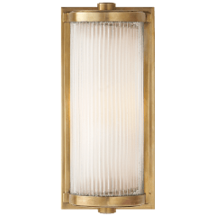 Dresser Short Glass Rod Light in Hand-Rubbed Antique Brass with Frosted Glass Liner